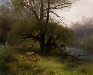 Hermann Herzog, (American/German, 1832-1932), Deer