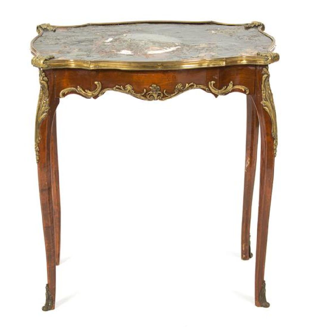 A Louis XV Style Gilt Bronze Mounted Side Table Height