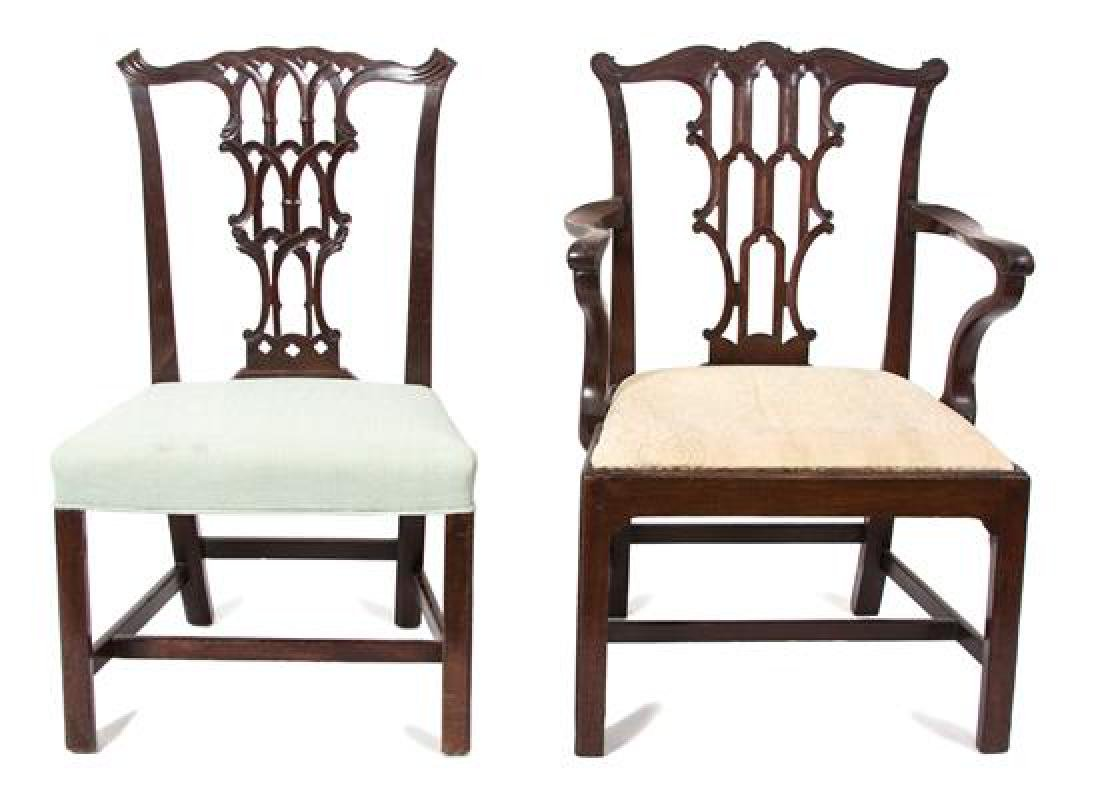 Two George III Carved Mahogany Chairs Height of