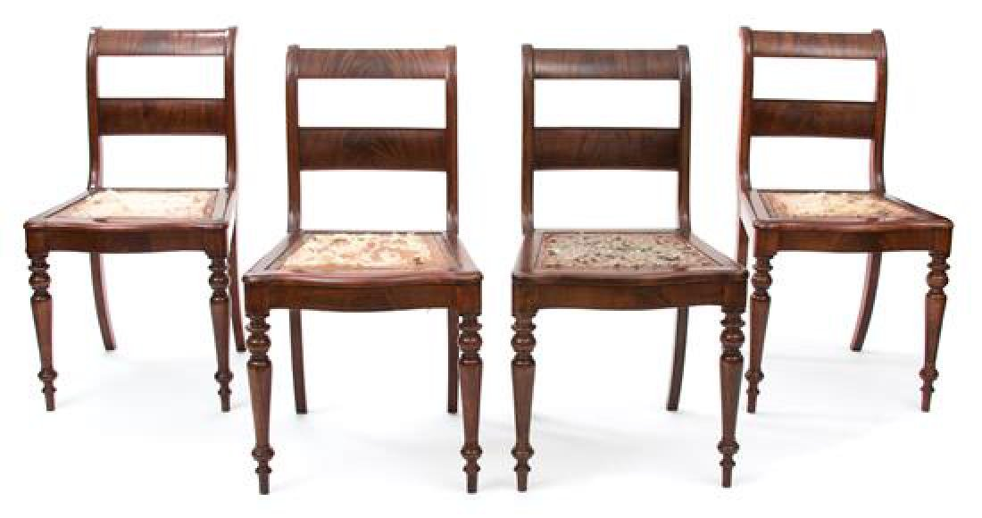A Set of Eight Regency Mahogany Dining Chairs Height 33