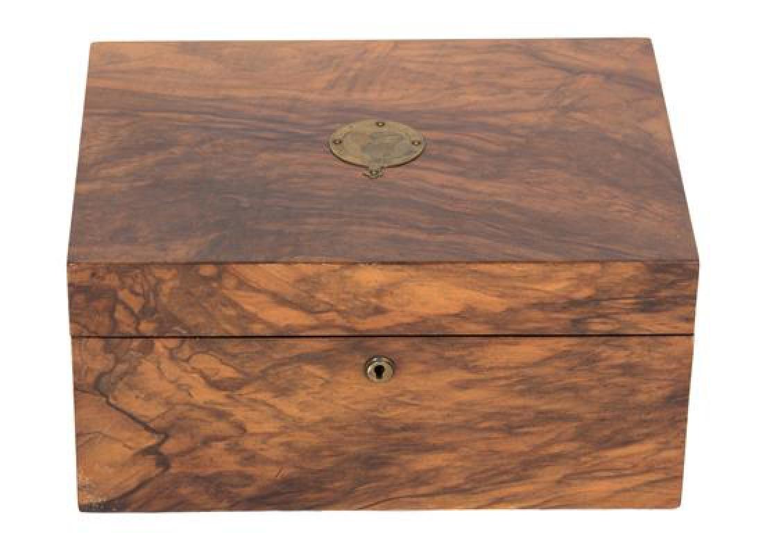 A Burl Walnut Sewing Box Height 5 3/4 x width 11 7/8 x