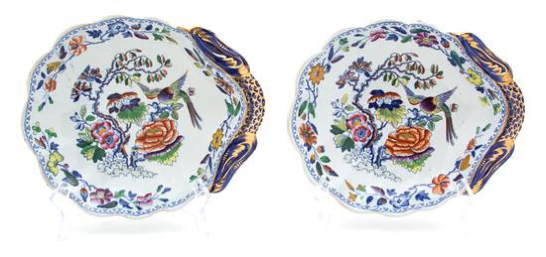 A Pair of English Stone China Shell-form Dishes Length