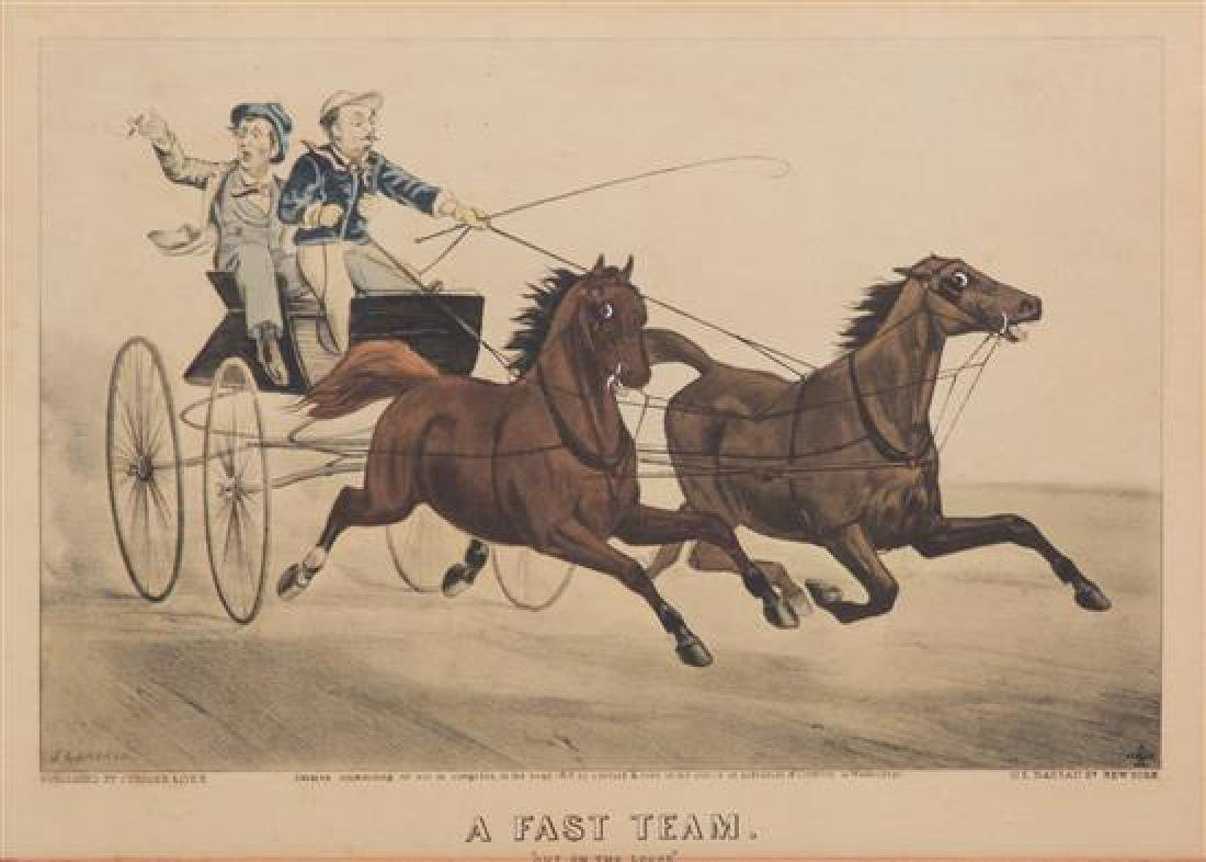 Three Hand-Colored Prints Depicting Carriage Racing
