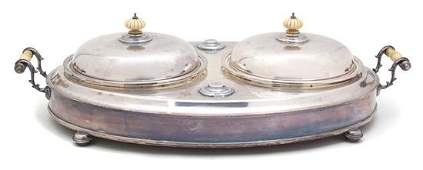 An English Silver Plate Double Covered Entree Server