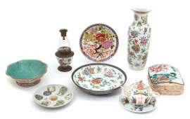 A Group of Chinese Famille Rose Porcelain Articles