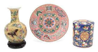 Three Chinese Famille Rose Porcelain Articles Diameter