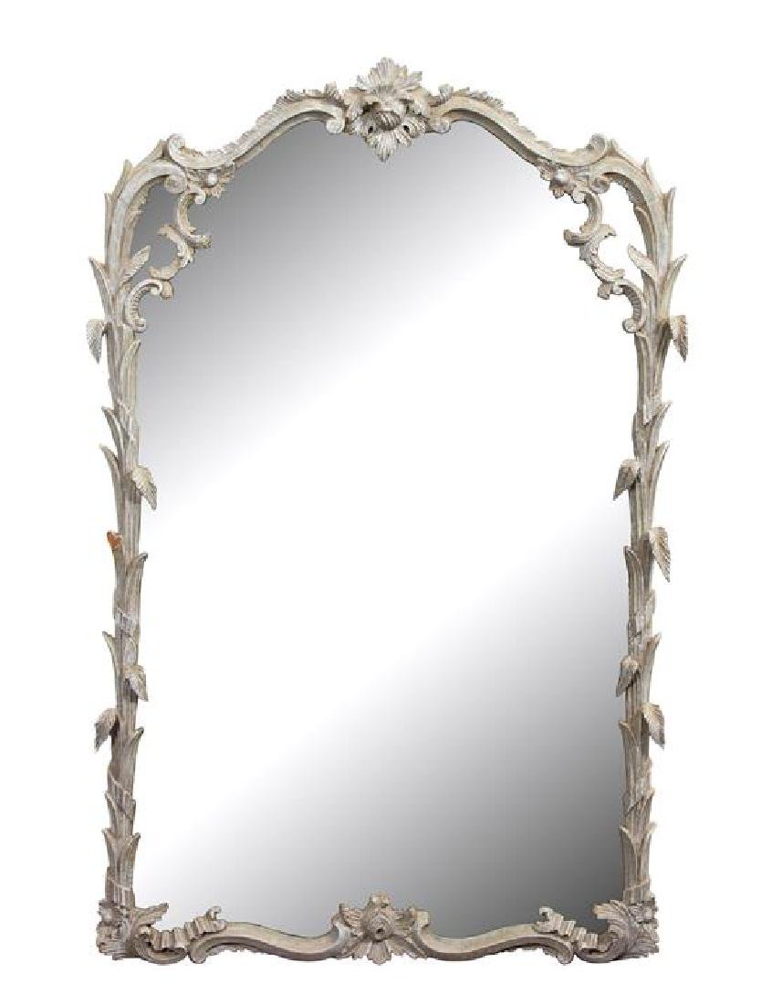A Painted Foliate Molded Framed Mirror 44 1/2 x 29 1/2