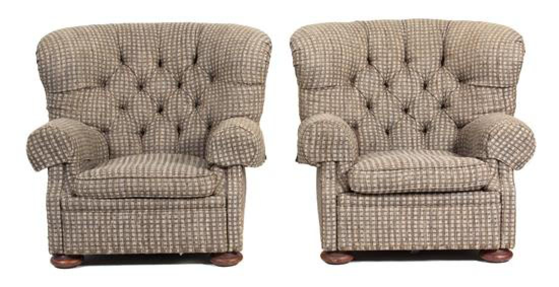 A Pair of Upholstered Button-Tufted Armchairs with a