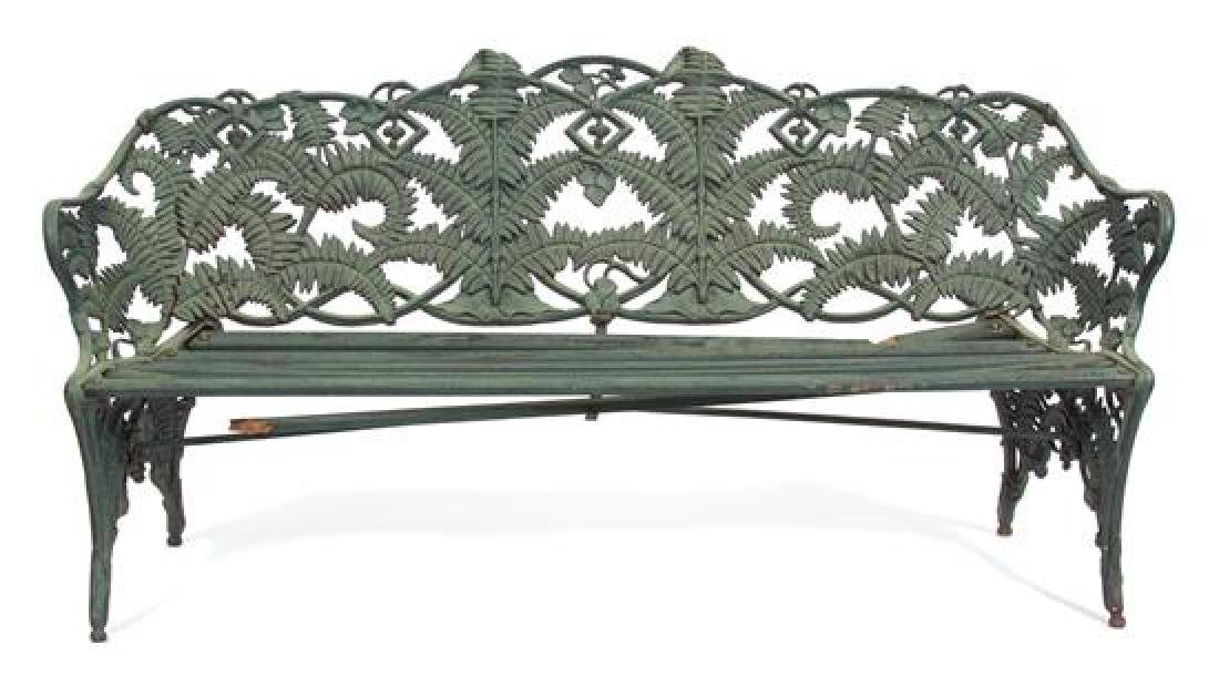 A Painted Cast Iron Fern Pattern Bench Height 36 3/4 x