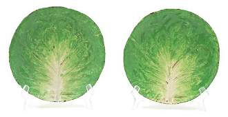 A Group of Majolica Lettuce Plates Diameter 9 inches.