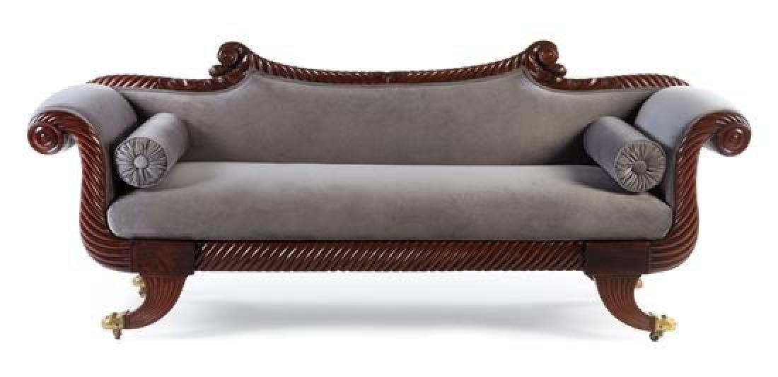 An Empire Mahogany Carved Sofa