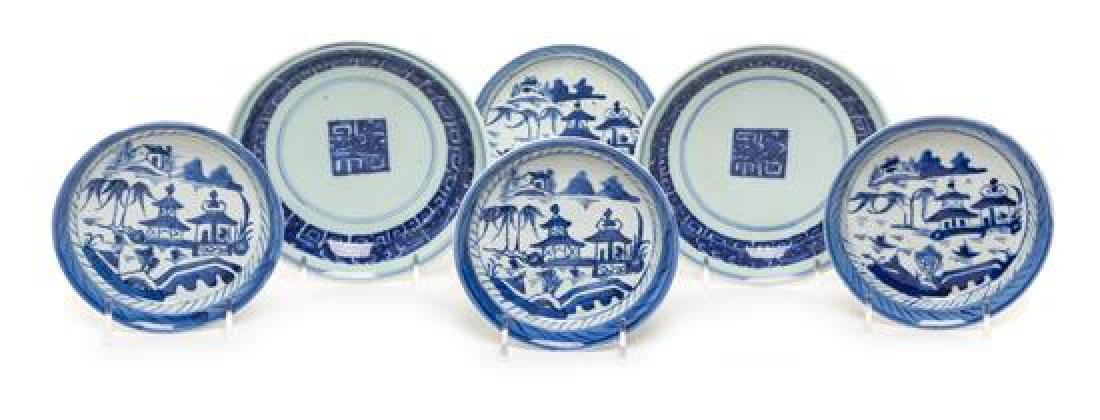 Six Chinese Export Blue and White Porcelain Plates