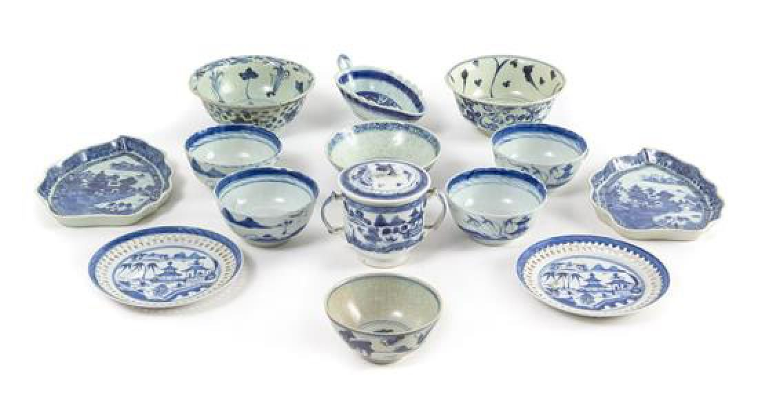 Fourteen Chinese Export Blue and White Porcelian