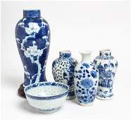 Five Chinese Blue and White Porcelain Articles Height
