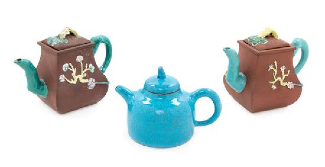 Three Chinese Yixing Pottery Teapots Height of tallest