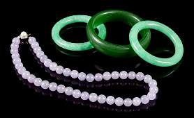 Four Chinese Hardstone Jewelry Articles Length of
