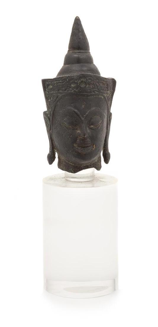 A Thai Bronze Head Head of Buddha Height 5 3/4 inches.