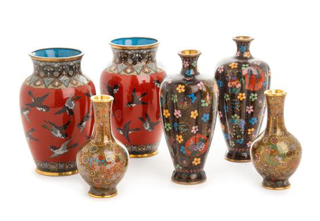 Three Pairs of Japanese Cloisonne Enamel Vases Height