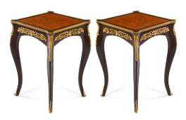 A Pair of Louis XV Style Gilt Bronze Mounted Tables