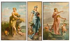 * Emile Meyer, (French, 1823-1893), Allegories (three