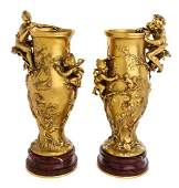 A Pair of French Gilt Bronze Vases Height 15 inches