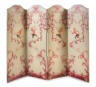 * A Painted Canvas Four-Panel Floor Screen Height 63