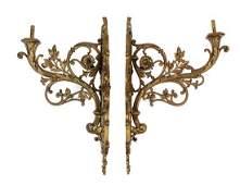 A Pair of Neoclassical Gilt Bronze Eight-Light Sconces