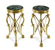 A Pair of Neoclassical Style Gilt Bronze Gueridons