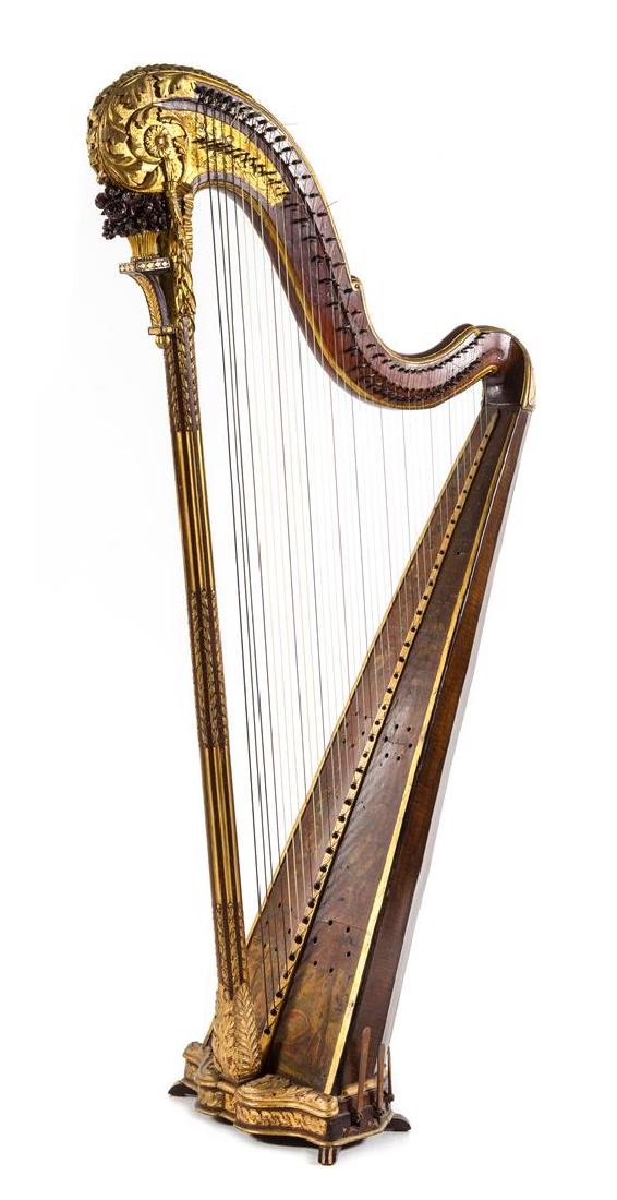 A French Painted and Parcel Gilt Harp Height 64 1/2