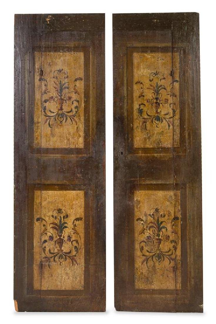 A Pair of Continental Painted Doors Height 78 1/4 x