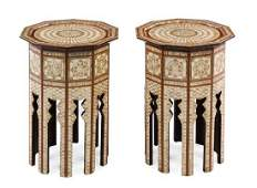 A Pair of Syrian MotherofPearl Inlaid Tables Height