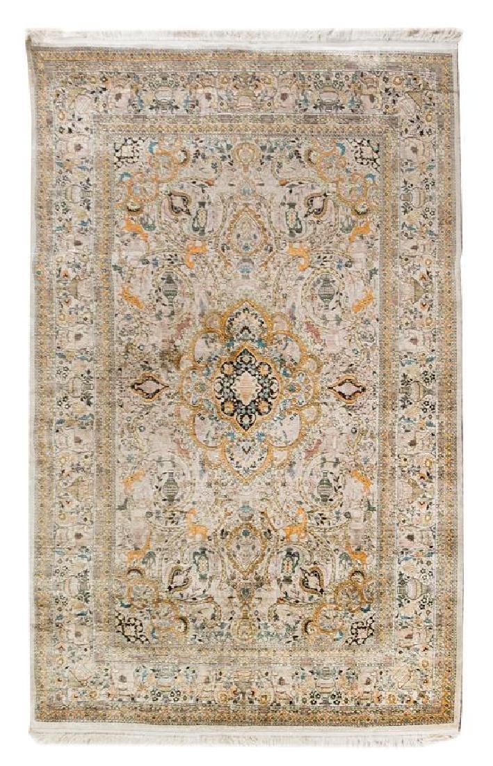 A Sino-Persian Silk Rug 6 feet x 4 feet.