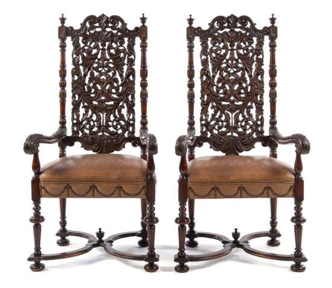 A Pair of William and Mary Oak Armchairs Height 53 3/4