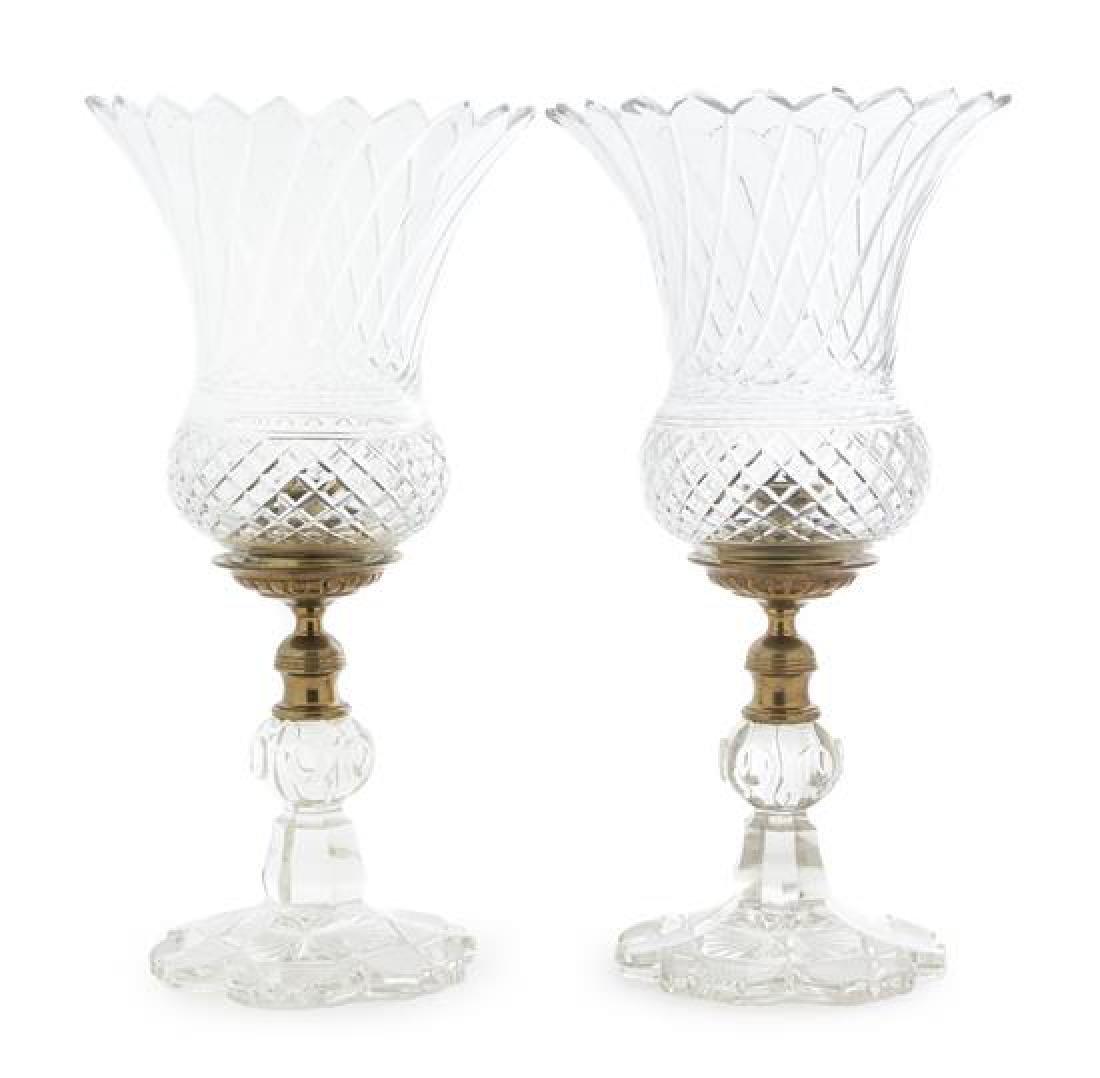 A Pair of Cut Glass Hurricane Candlesticks Height 16