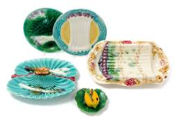* A Group of Five Majolica Table Articles Width of