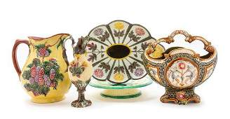 A Group of Majolica Table Articles Height of largest
