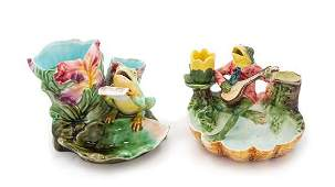 Two Majolica Figural Smoking Trays Height of taller 4