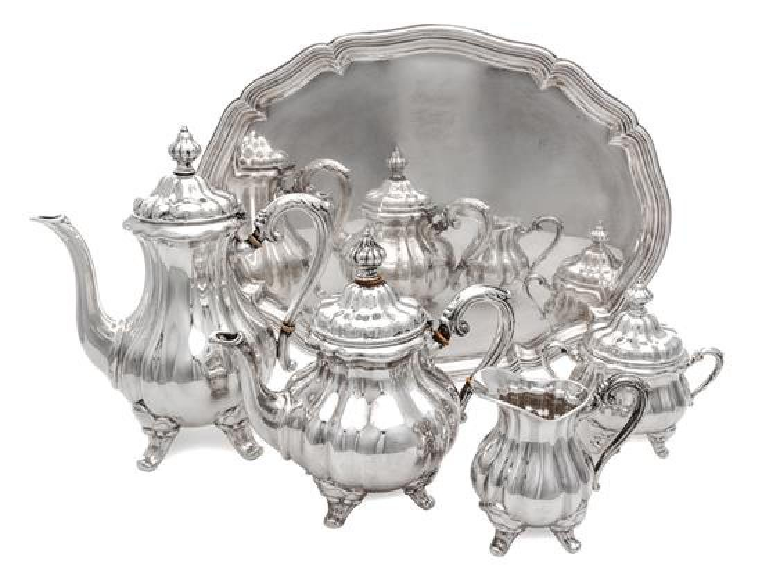 * A German Silver Five-Piece Tea and Coffee Service,