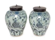 A Pair of Chinese Blue and White Porcelain Tea Jars