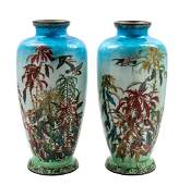 * A Pair of Large Japanese Cloisonne Vases Height 24