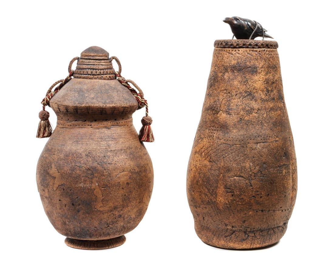 Two Contemporary Southwest Style Jars Height of larger