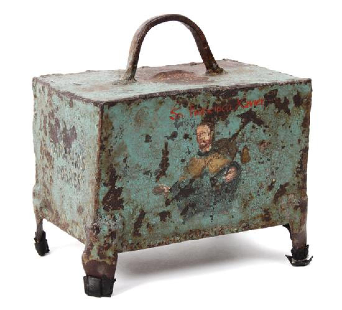 Mexican Painted Iron Collections Box Height 9 1/4