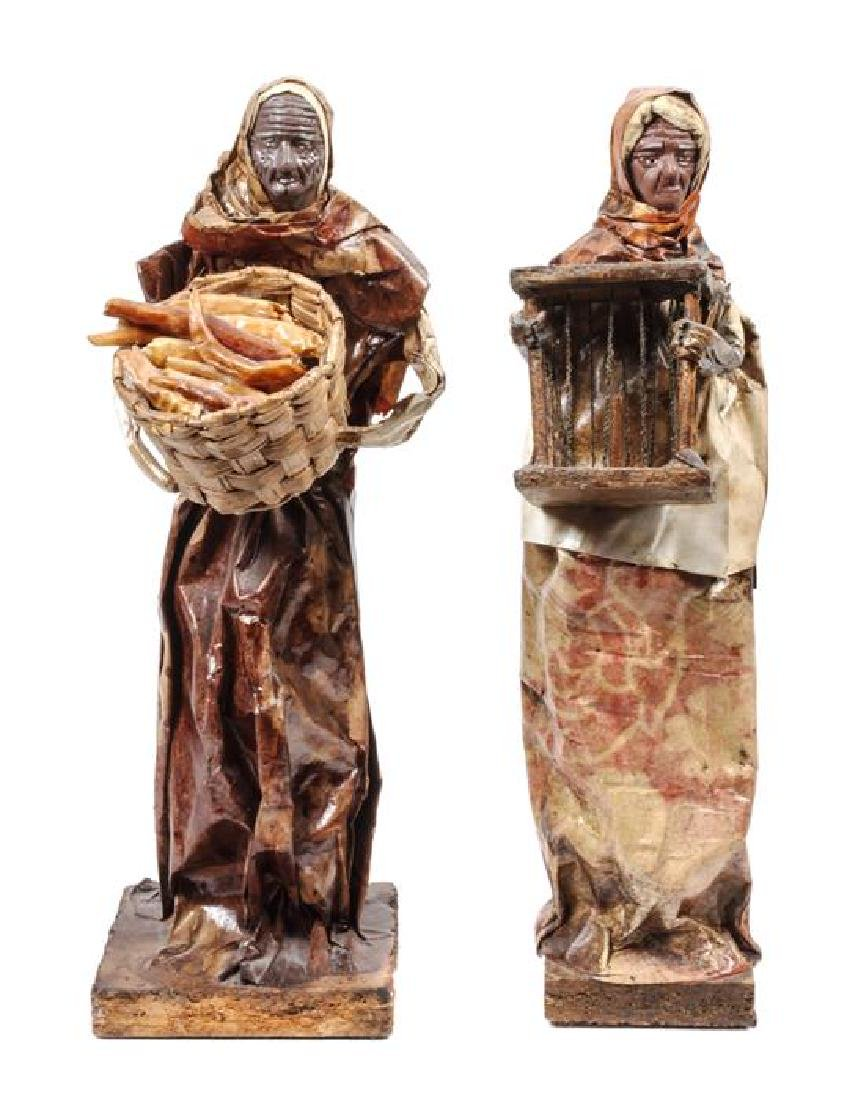 Two Mexican Figural Mixed Media Sculptures Height 13