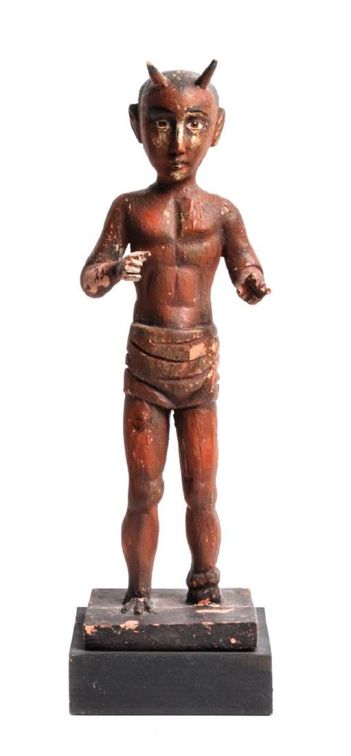 Carved and Painted Wood Folk Art Figure Height overall