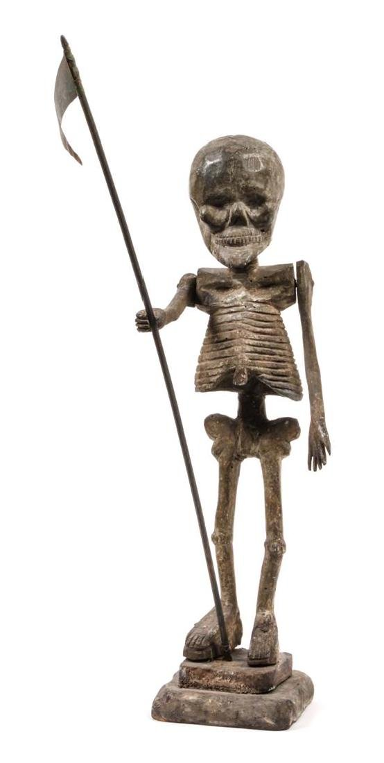 Carved and Painted Wood Figure of a Skeleton Height 16