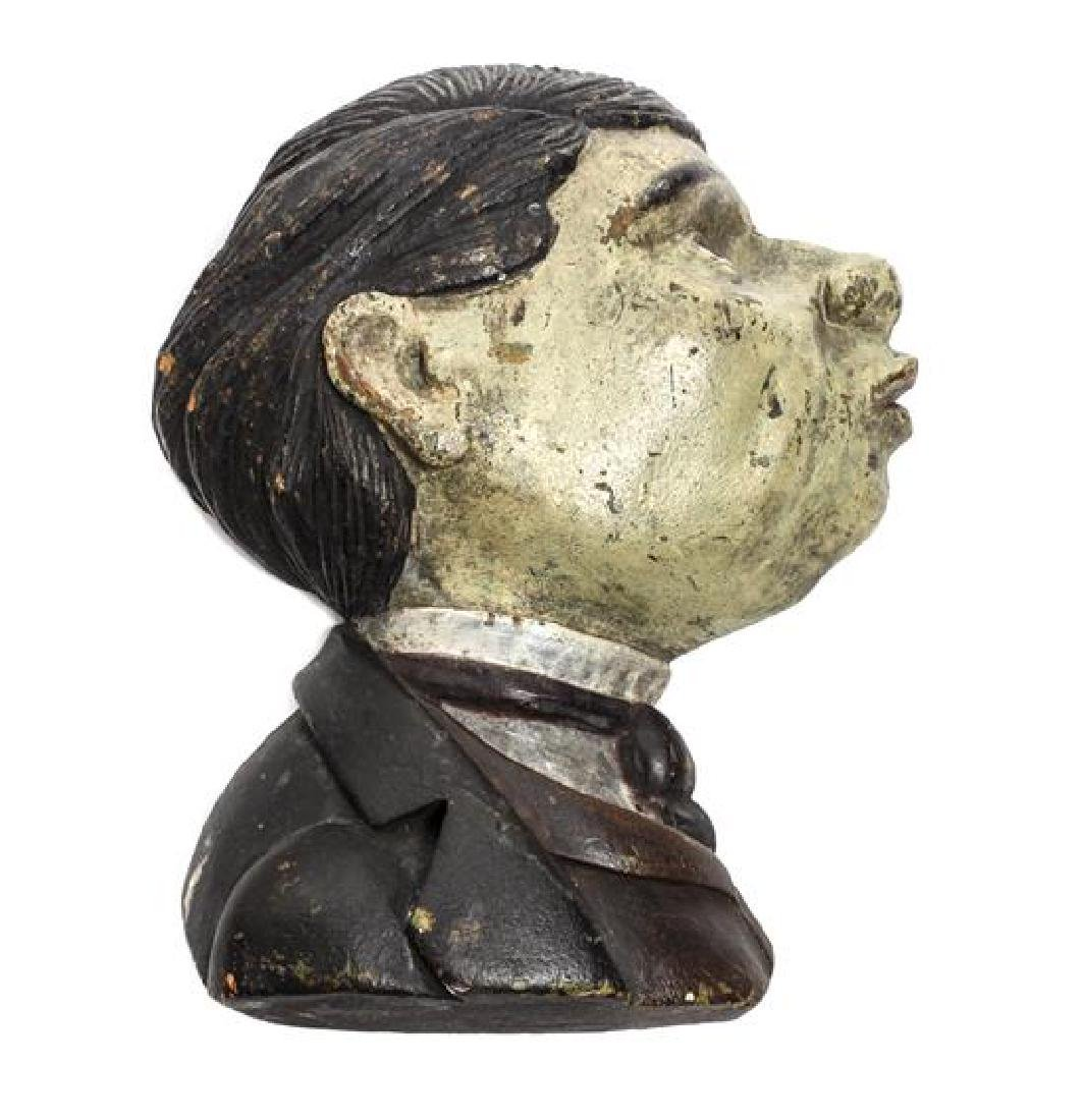 American Carved and Painted Wood Profile of a Man