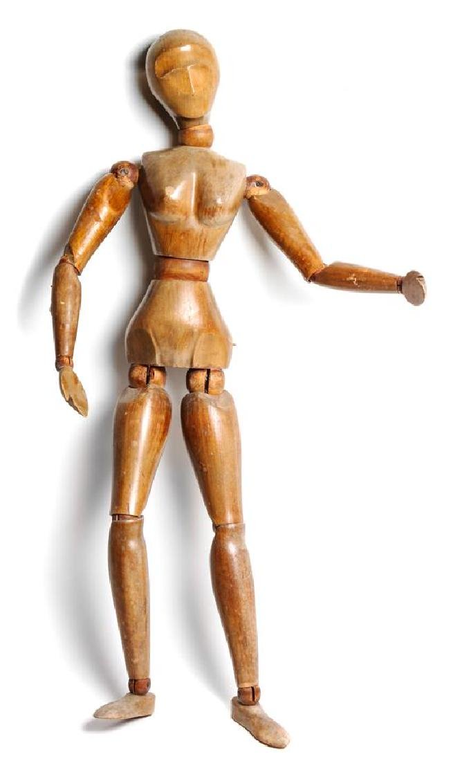 Large Reticulated Wood Female Figure Height 32 1/2