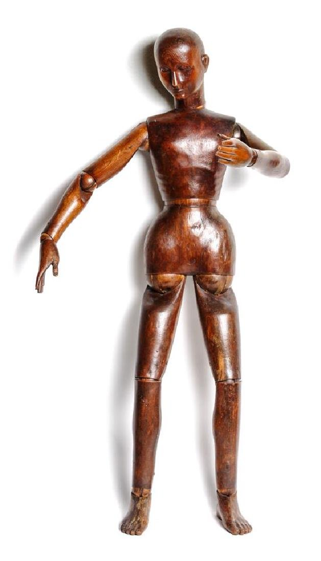 Large Reticulated Wood Male Figure Height 38 1/2 inches