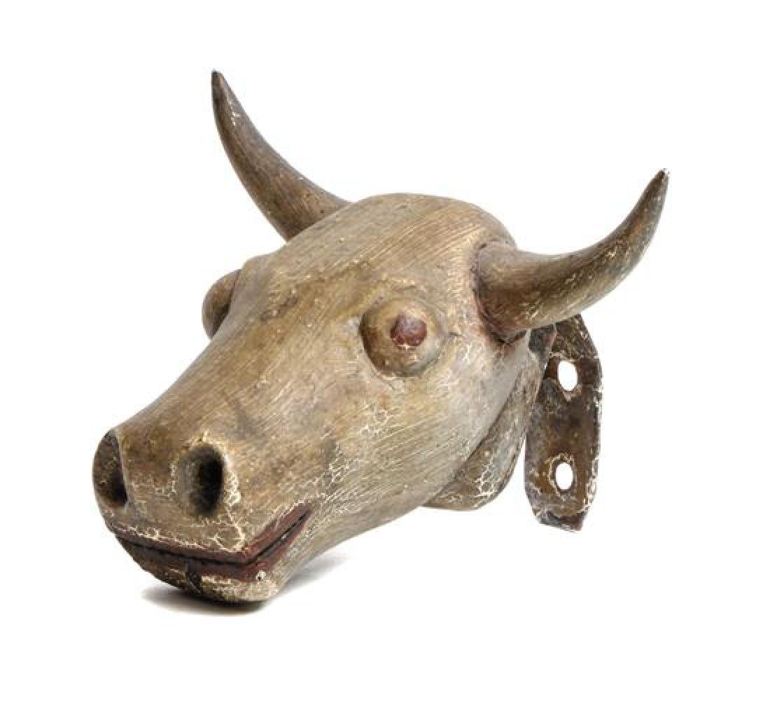 American Carved and Painted Wood Steer's Head Length 6