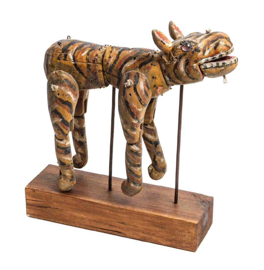 Carved Wood Folk Art Figure of a Tiger Height overall